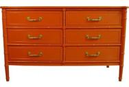 Orange Lacquered Henry Link Six-Drawer Dresser
