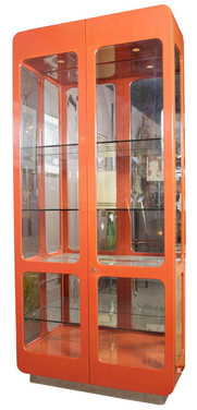 1970's Lacquered Vitrine in Persimmon