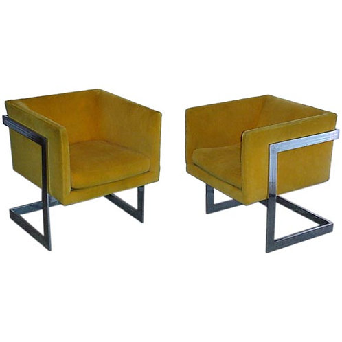 PAIR CUBE CHAIRS BY MILO BAUGHMAN FOR THAYER COGGIN