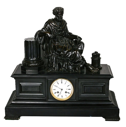 VINTAGE BRONZE & MARBLE SCULPTURE CLOCK IN THE STYLE OF JAPY FRERES