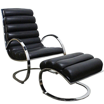 Milo Baughman Leather Lounge Chair and Ottoman