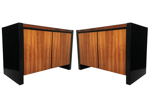 PAIR HENREDON KAO WOOD & BLACK LACQUER NIGHTSTANDS