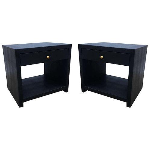 PAIR OF VINTAGE BLACK SHAGREEN NIGHTSTANDS/SIDE TABLES