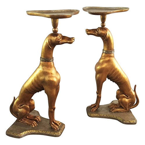 PAIR ITALIAN GILTWOOD GREYHOUNDS SIDE TABLES, ATTRIBUTED TO JANSEN