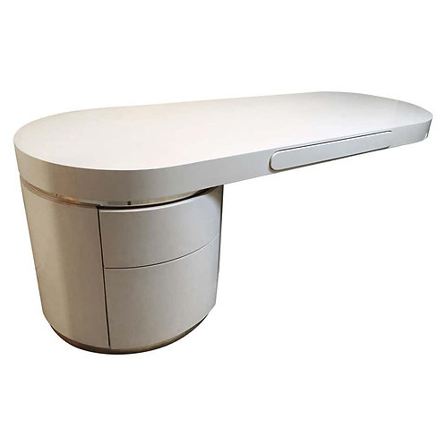 """PONTE"" SINGLE PEDESTAL LACQUERED DESK DESIGNED BY J. WADE BEAM"