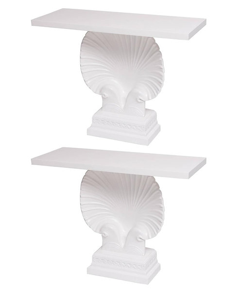 PAIR HOLLYWOOD REGENCY WHITE LACQUERED SHELL CONSOLE TABLES