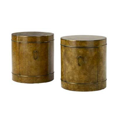 Mastercrft Pair Burlwood Drum Tables/Cabinets