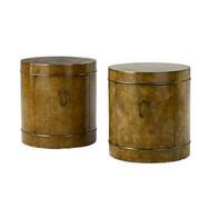 Mastercrft Pair Burlwood Drum Tables/Cabinets