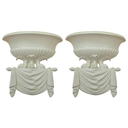 Pair of Dorothy Draper Style Plaster Wall Sconces