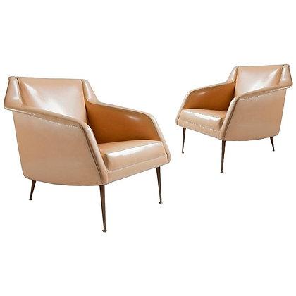 Pair of Sculptural Carlo de Carli Club Chairs for Singer & Sons