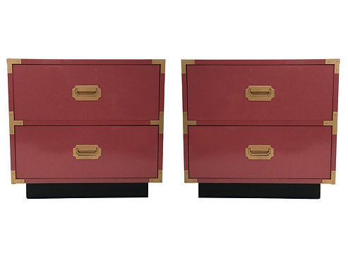 PINK LACQUERED CAMPAIGN NIGHTSTANDS BY DIXIE