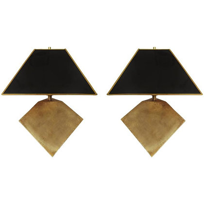 Pair of Geometric Form Sculptural Brass Lamps Manner of Gabriella Crespi