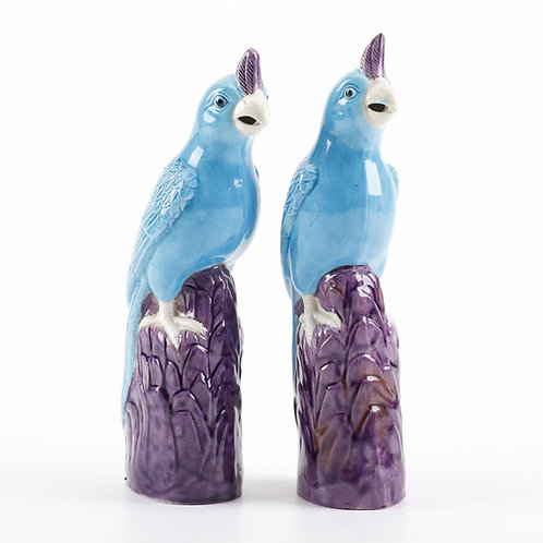 EARLY 20TH CENTURY PAIR CHINESE MAJOLICA PARROTS