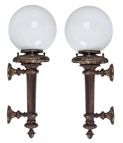 BRONZE WALL SCONCES WITH OPAL GLASS GLOBES, CIRCA 1900
