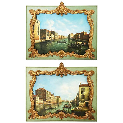 Stunning Pair of Overdoor Paintings
