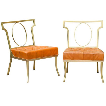 Hollywood Regency Pair of Leather and Brass Chairs by William Billy Hain