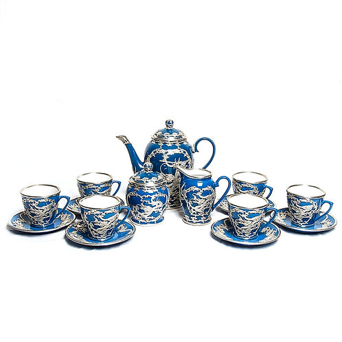 CHINESE PORCELAIN TEA SET WITH APPLIED METAL DRAGONS