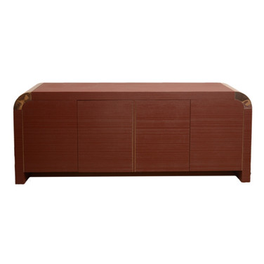 Vintage Waterfall Credenza with Brass Detailing