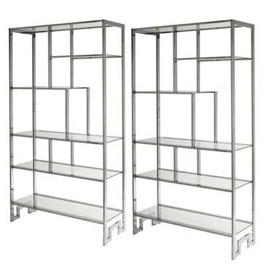 Pair of Chrome & Glass Shelves by Milo Baughman for Thayer Coggin