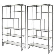 Pair of Chrome & Glass Shelves by Milo Baughman for Thayer Coggin