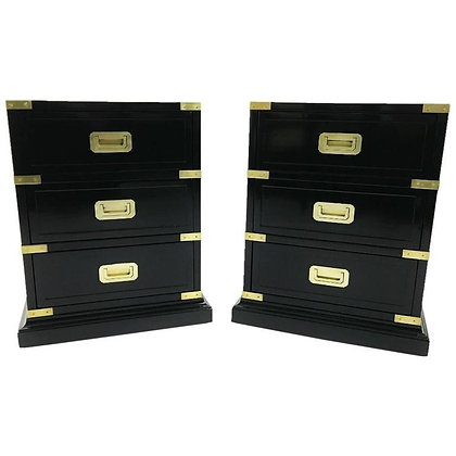 Pair of Campaign Style Ebonized Side Tables