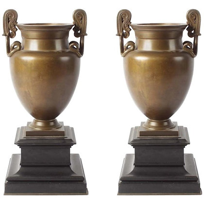 19th Century Pair of Neoclassical Bronze Grand Tour Vases on Marble Bases