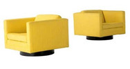 Harvey Probber Pair Cube Chairs Upholstered in Yellow