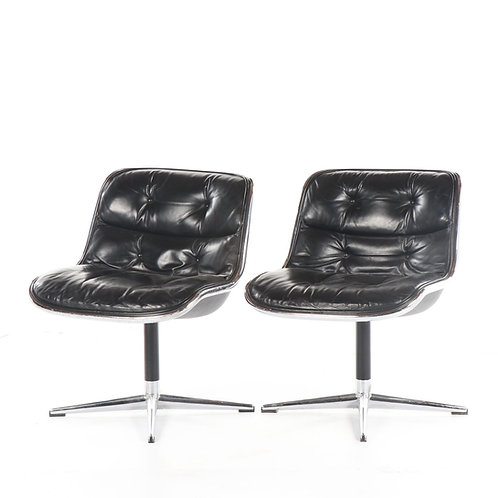 "PAIR LEATHER ""POLLOCK EXECUTIVE CHAIRS"" BY KNOLL INTERNATIONAL"