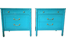Pair Teal Lacquered Henry Link Nightstands/Chests