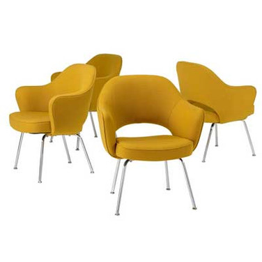 Eero Saarinen for Knoll Set of Four Armchanirs in Yellow
