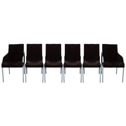 Set of Six Chrome Dining Chairs by Dillingham in the style of Milo Baughman