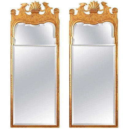 Pair Architectural George I Gilt-Gesso Mirrors