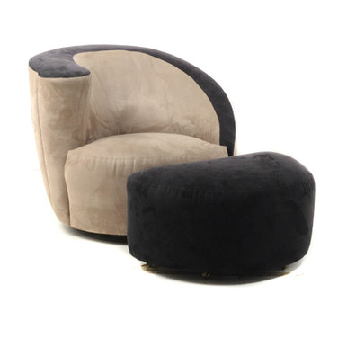 Vladimir Kagan Swivel Chair and Ottoman