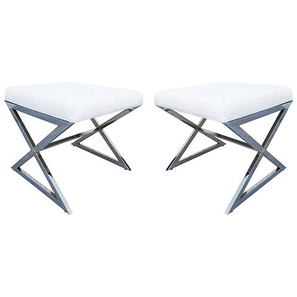 Pair of Chrome X-Base Stools in the Manner of Milo Baughman