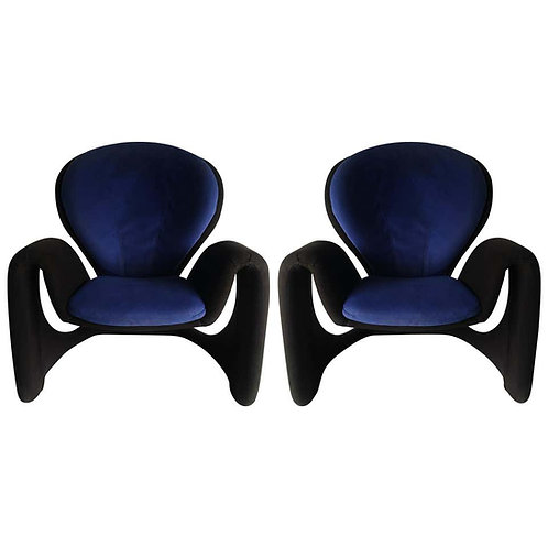 PAIR OF TWO-TONE MODERN CANTILEVER RIBBON ARMCHAIRS