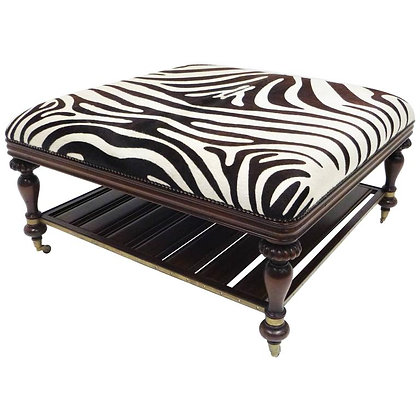 Vintage Zebra Hide Ottoman, Coffee or Cocktail Table