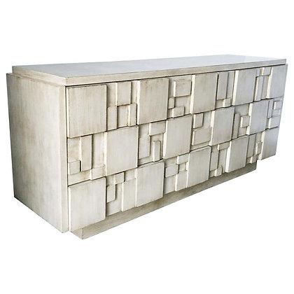 Brutalist White Finish 9-Drawer Dresser Credenza by Lane