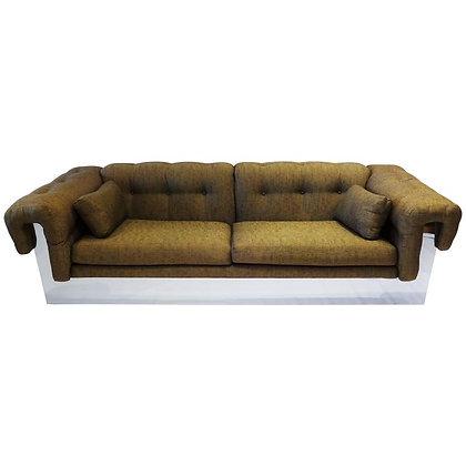 Milo Baughman Style Thayer Coggin Sofa with Polished Chrome Base, 1970s