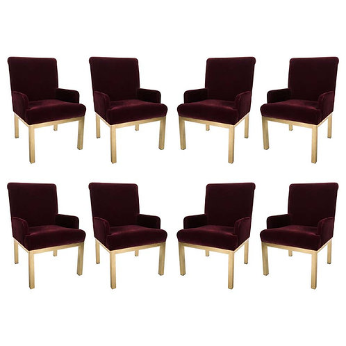 8 MILO BAUGHMAN FOR DESIGN INSTITUTE OF AMERICA BRASS DINING CHAIRS