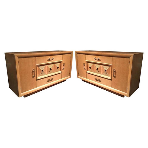 TWO MATCHING FRENCH ART DECO CREDENZAS/SIDEBOARDS ATTRIBUTED TO MAXIME OLD