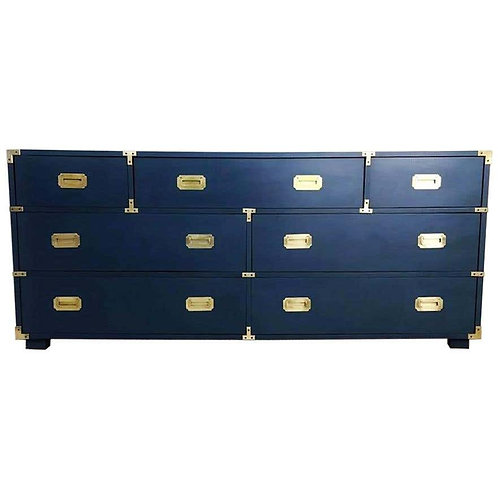 LACQUERED IN ROYAL BLUE CAMPAIGN STYLE SEVEN-DRAWER DRESSER