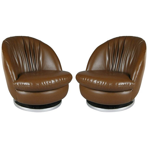 PAIR OF MILO BAUGHMAN BROWN TILT & SWIVEL LOUNGE CHAIRS