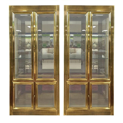 Pair of Elegant Mastercraft Brass Vitrine Display Cabinets