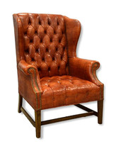 Brown Leather Hepplewhite Style Wing Chair
