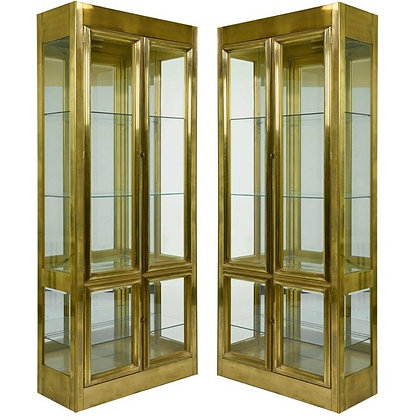Pair of Elegant Mastercraft Brass Vitrine Display Cabinets