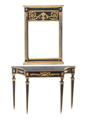Black and Gold Louis XVI French Console Hall Table with Mirror