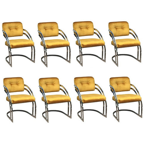 EIGHT MILO BAUGHMAN STYLE CHROME DINING CHAIRS