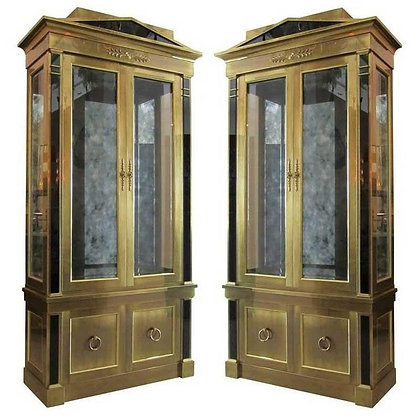 Pair Mastercraft Empire Style Brass Vitrine Cabinets
