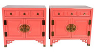 Lacquered Asian Nightstands in Light Pink