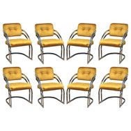 Milo Baughman Style Chrome Dining Chairs